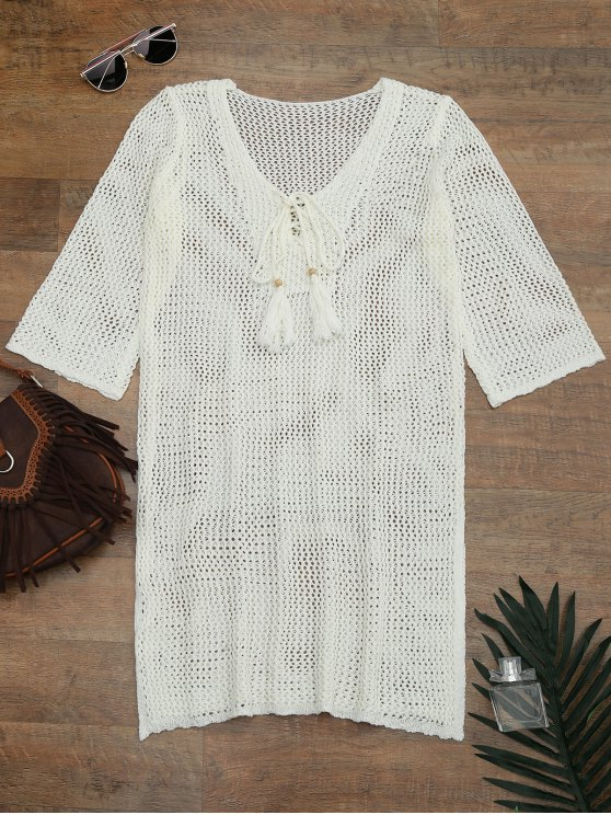 buy Side Split Open Knit Beach Cover Up Dress - OFF-WHITE ONE SIZE