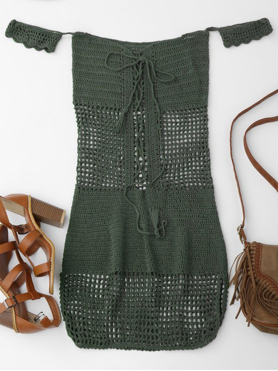 women Open Knit Off Shoulder Cover Up Dress - BLACKISH GREEN ONE SIZE