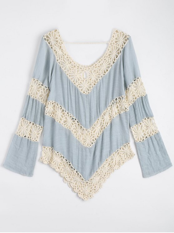 hot Chevron Crochet Panel Beach Cover Up Top - LIGHT BLUE ONE SIZE