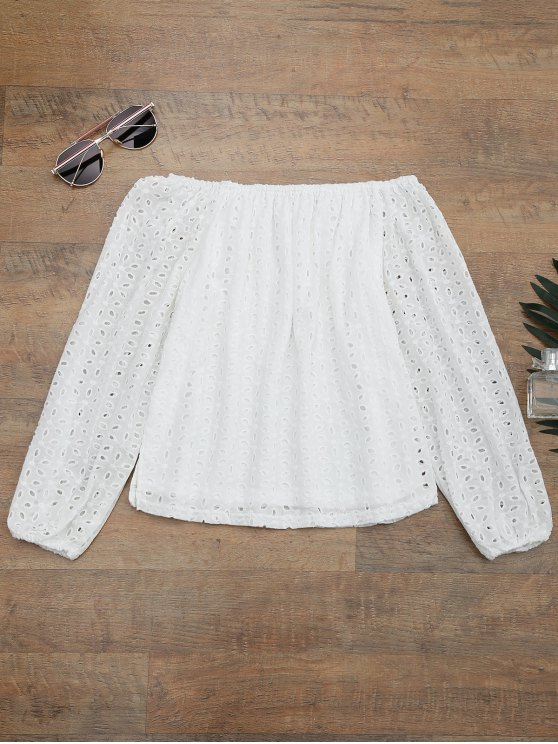 outfits Off The Shoulder Embroidered Cover Up Top - WHITE M