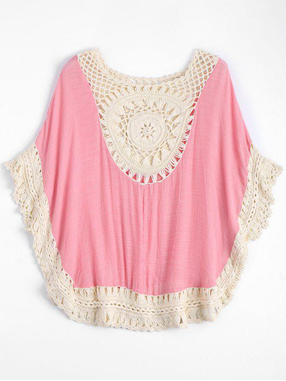 trendy Crochet Insert Beach Poncho Cover Up - PINK ONE SIZE