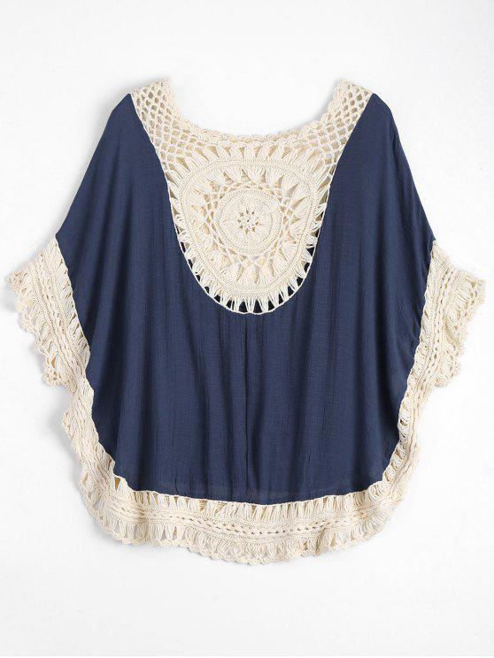 fashion Crochet Insert Beach Poncho Cover Up - BLUE ONE SIZE