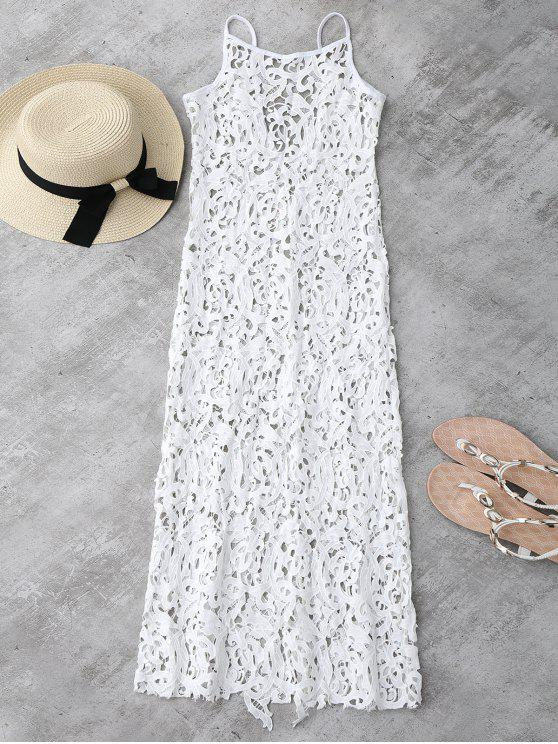 latest Sheer Crochet Lace Midi Slip Dress - WHITE XL
