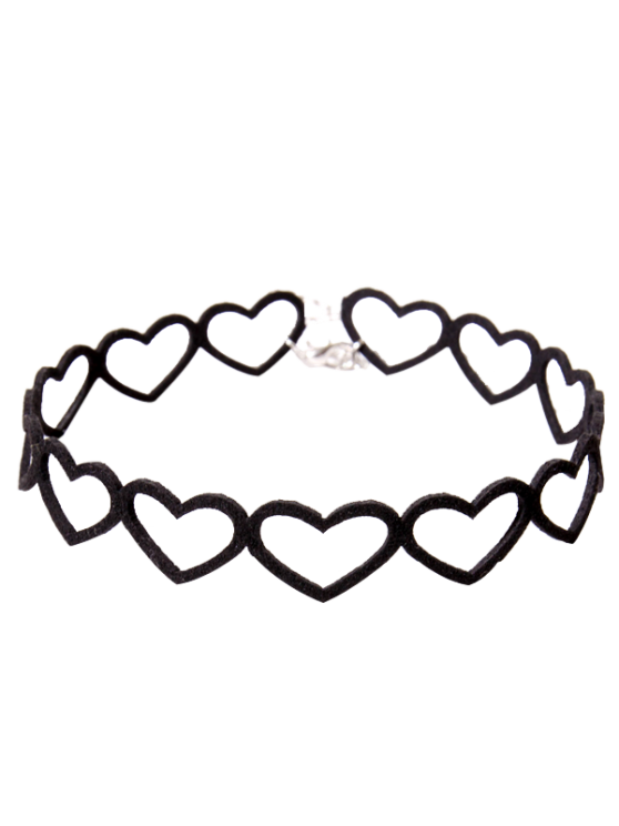 chic Heart Vintage Choker Necklace - BLACK