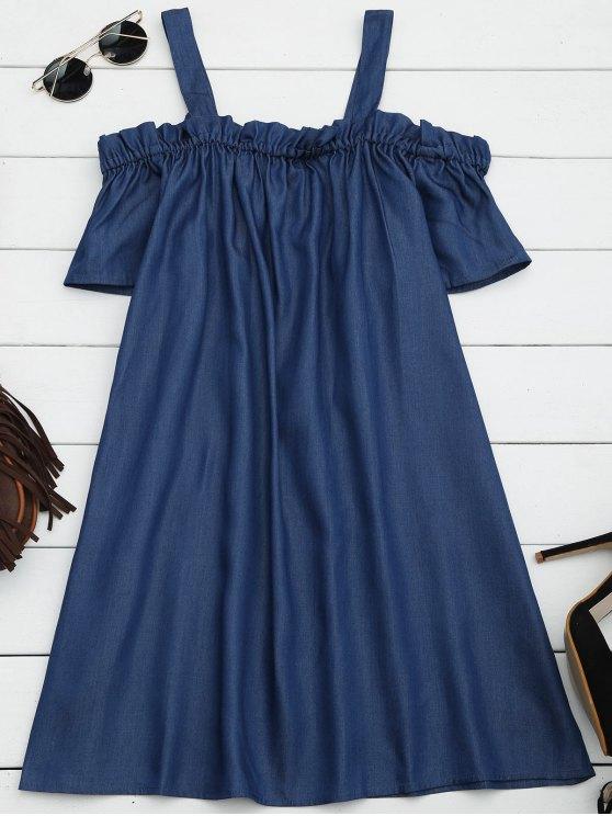 Ruffles Casual vestido de hombro frío - Denim Blue M