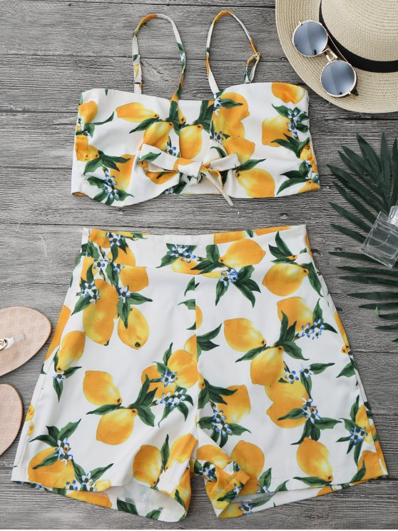 ladies Lemon Knotted Crop Top and Shorts Set - WHITE L