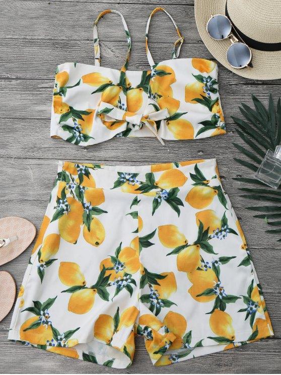 Limón Knotted Crop Top y pantalones cortos Set - Blanco L