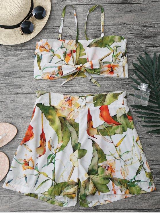Floral Knot Crop Top y pantalones cortos Set - Blanco S