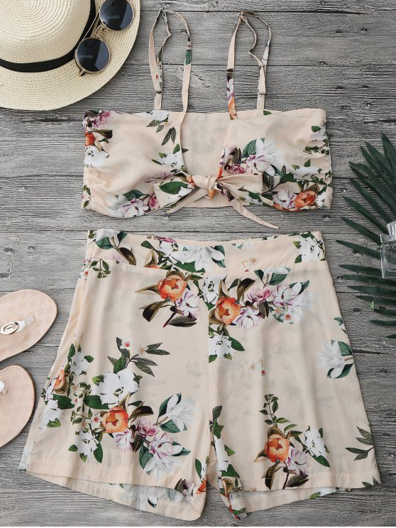 outfit Knotted Crop Top and High Waisted Shorts Set - FLORAL L