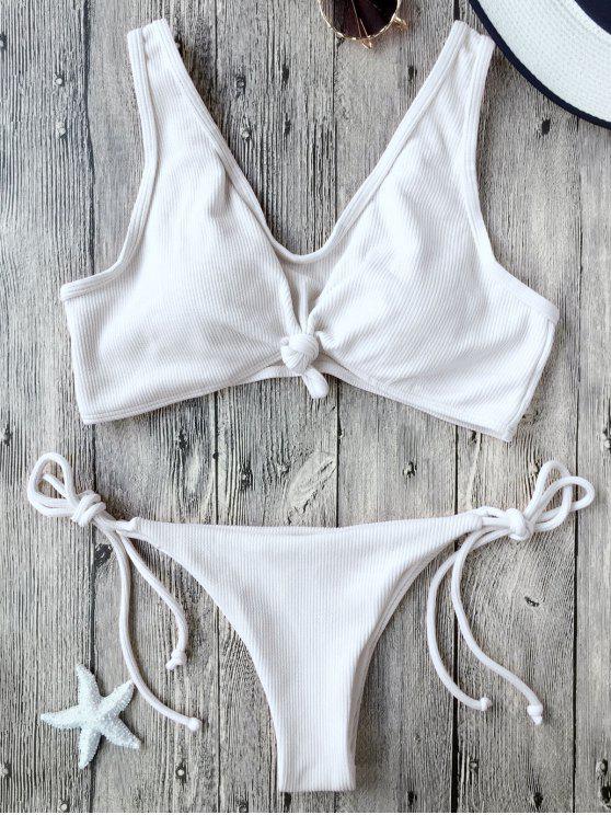 chic Ribbed Knotted String Bralette Bikini - WHITE M