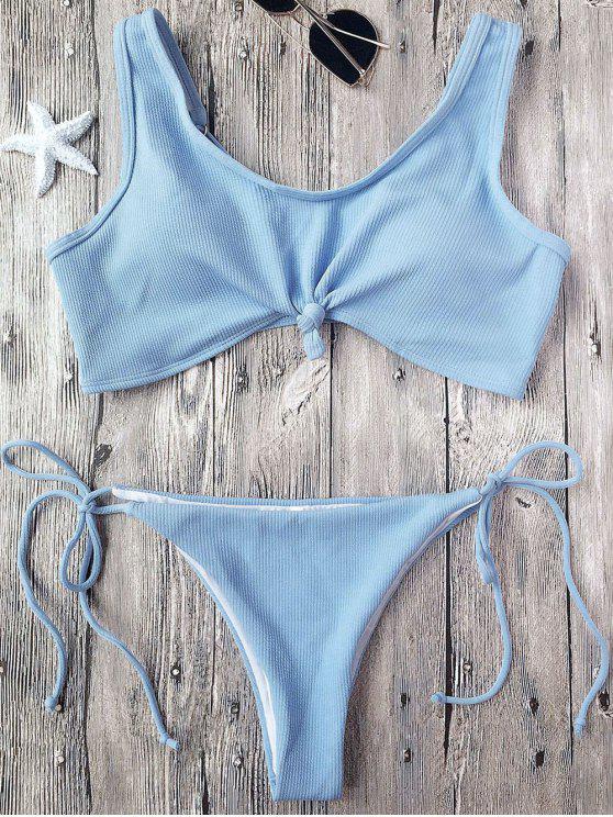 unique Ribbed Knotted String Bralette Bikini - LIGHT BLUE L