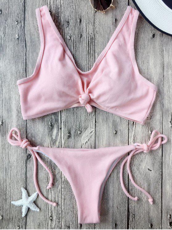Bikini brassière plissé avec nœud et ficelle - ROSE PÂLE M