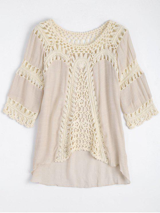 shops Crochet Insert Beach Cover Up Tunic Top - OFF-WHITE ONE SIZE