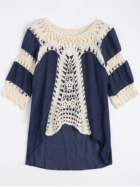 latest Crochet Insert Beach Cover Up Tunic Top - PURPLISH BLUE ONE SIZE