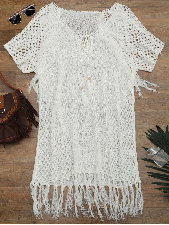 trendy Relaxed Sheer Beach Tunic Cover Up Dress - WHITE ONE SIZE