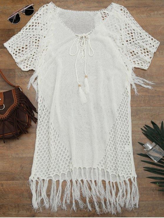 Vestido saída de praia barra com franjas - Branco Tamanho único
