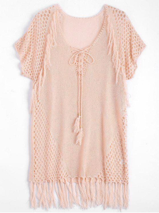 Relaxed Sheer Beach Tunic Cover Up Vestido - Rosa Única Talla