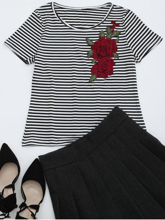 fancy Round Collar Floral Patched Striped Tee - STRIPE M
