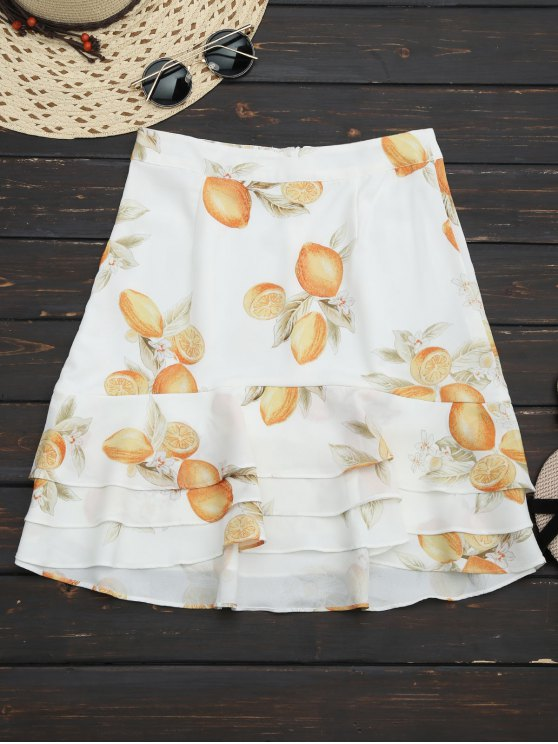 best Lemon Layered Flounces A-Line Skirt - FLORAL M