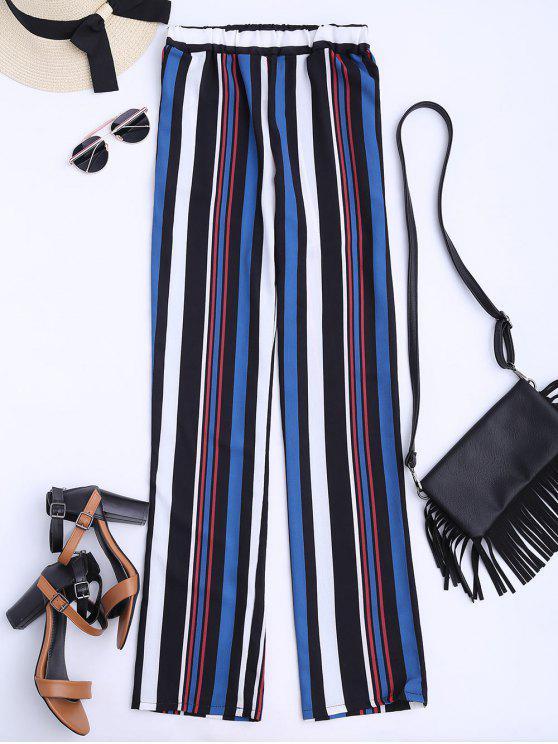 Pantalones Flowy Corte Recto - Multicolor L