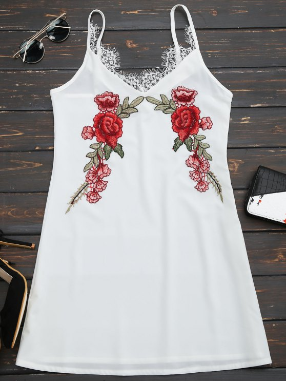 fashion Lace Insert Floral Embroidered Slip Dress - WHITE M