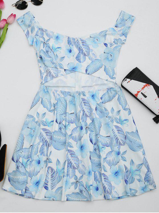 Robe évasée découpée imprimée florale - Blanc M