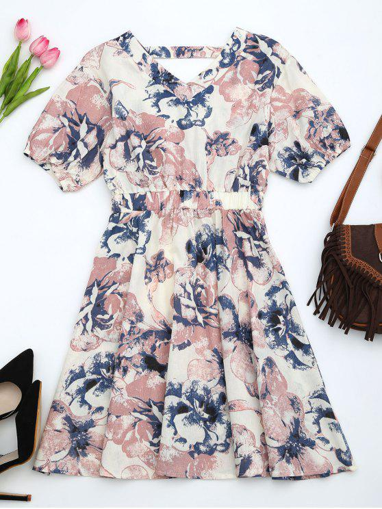 hot Puff Sleeve Floral Print Cut Out Dress - PINK XL