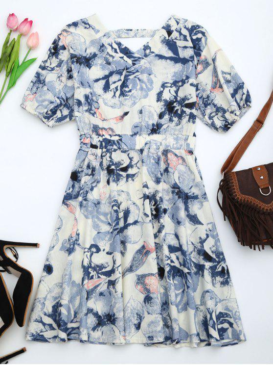 Robe découpée imprimée florale à manches bouffantes - Bleu XL