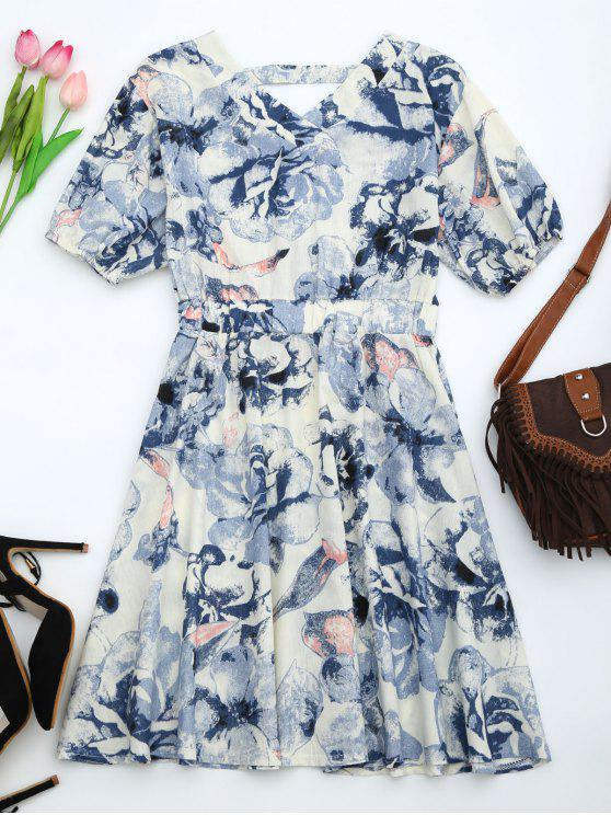 Robe découpée imprimée florale à manches bouffantes - Bleu L