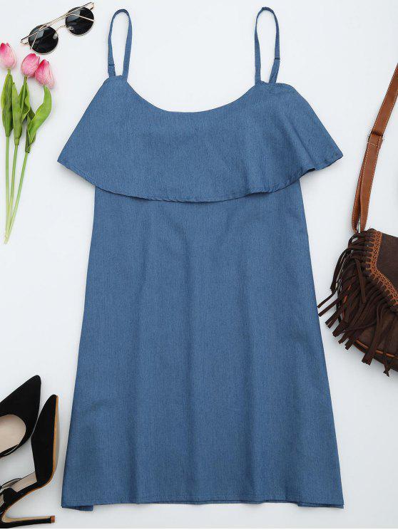 فستان كشكش كامي مستقيم - ازرق S