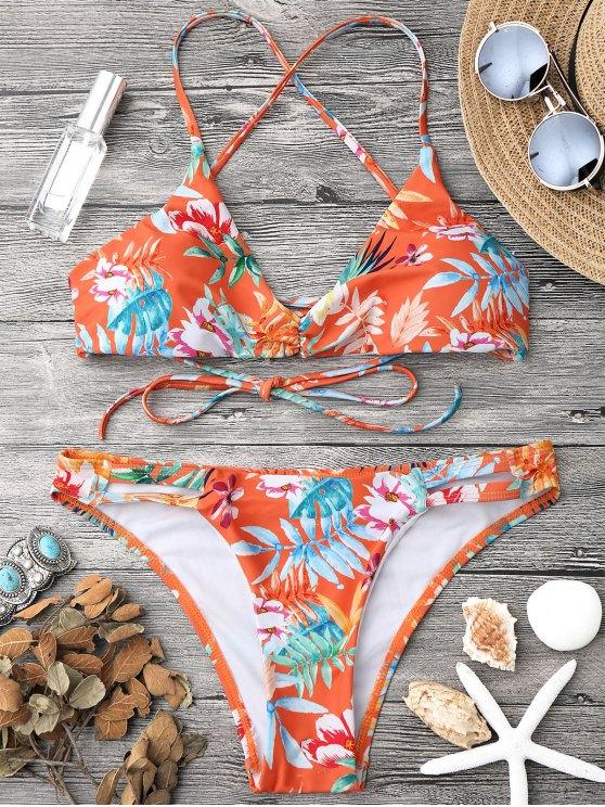 womens Tropical Print Strappy Bikini Top and Bottoms - ORANGE L