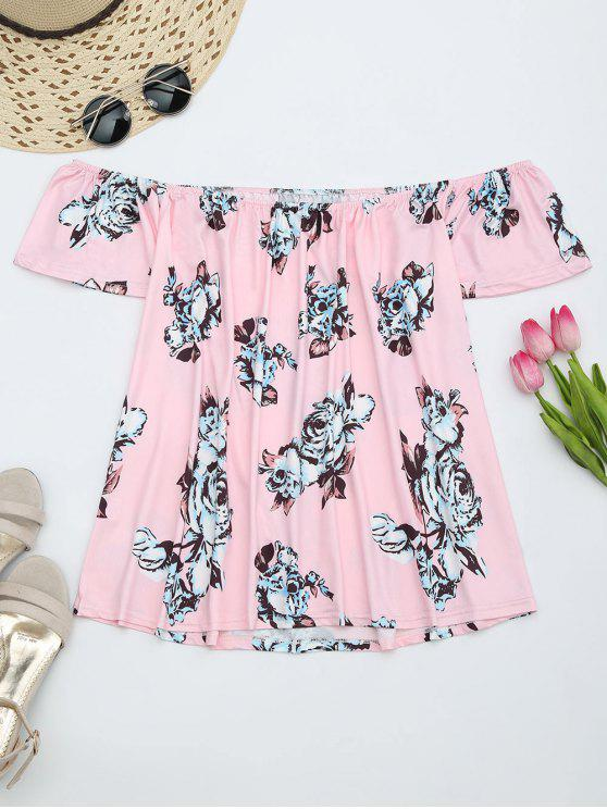 affordable Floral Print Off The Shoulder Blouse - PINK L