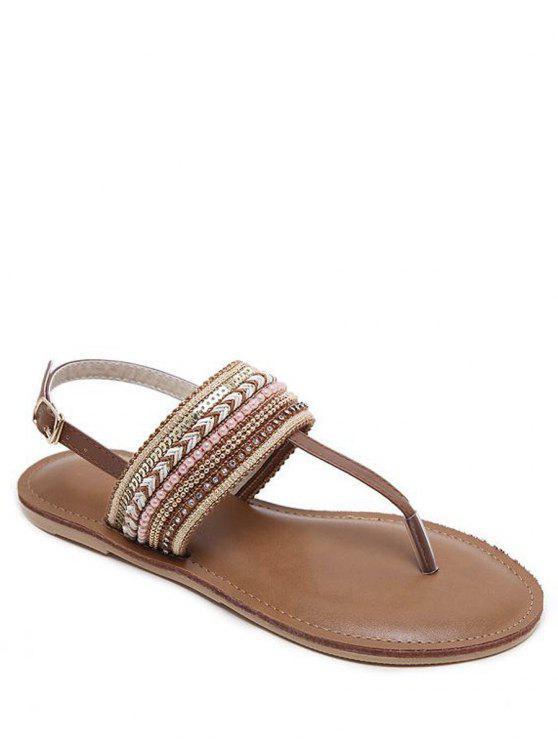 Hebilla de cinturón de cuentas de tacón plano sandalias - Marrón Oscuro 40