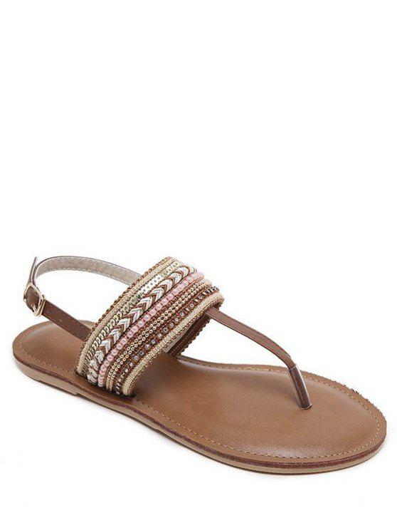 hot Belt Buckle Beading Flat Heel Sandals - DEEP BROWN 38