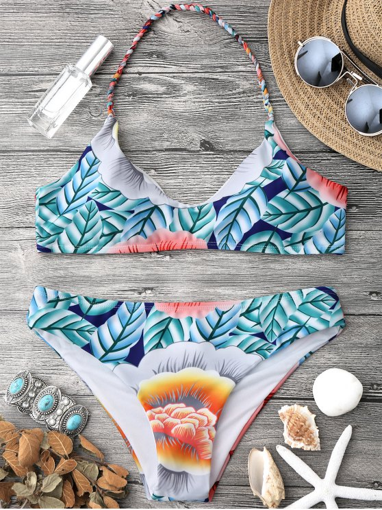 outfits Printed Halter Bralette Bikini Top and Bottoms - MULTICOLOR M
