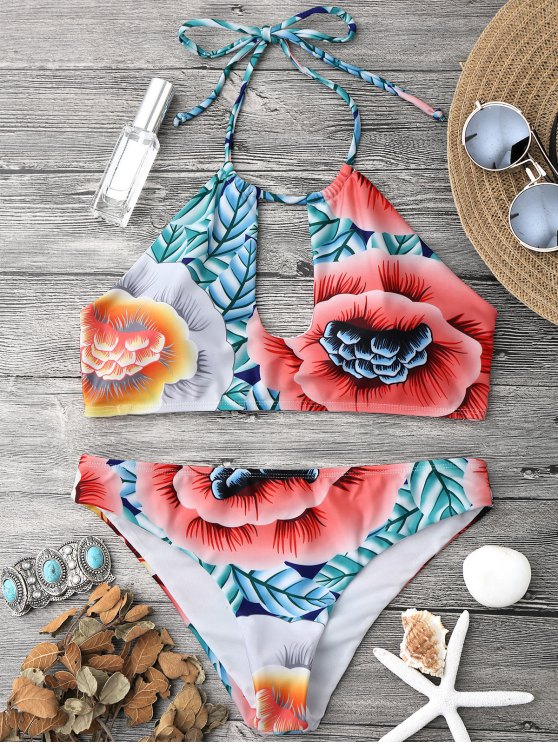 latest Keyhole Halter Bikini Top and Bottoms - MULTICOLOR M