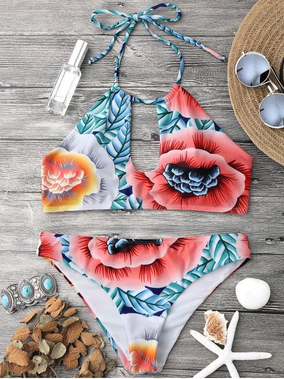 trendy Keyhole Halter Bikini Top and Bottoms - MULTICOLOR S