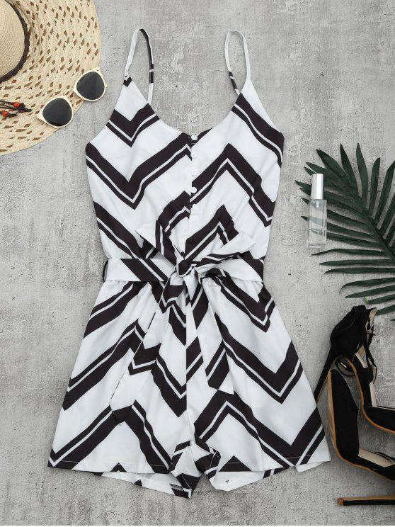 affordable Belted Zigzag Cami Romper - WHITE L