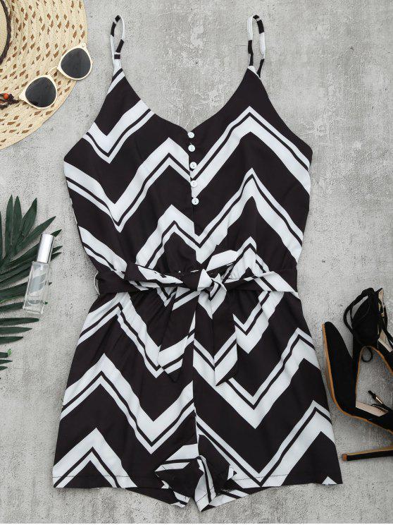 women's Belted Zigzag Cami Romper - BLACK M