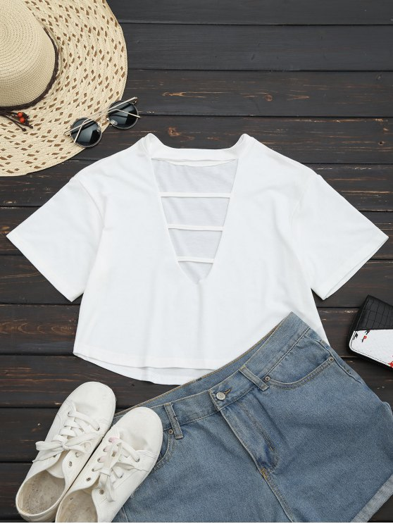fancy Cut Out Choker Cropped Top - WHITE M