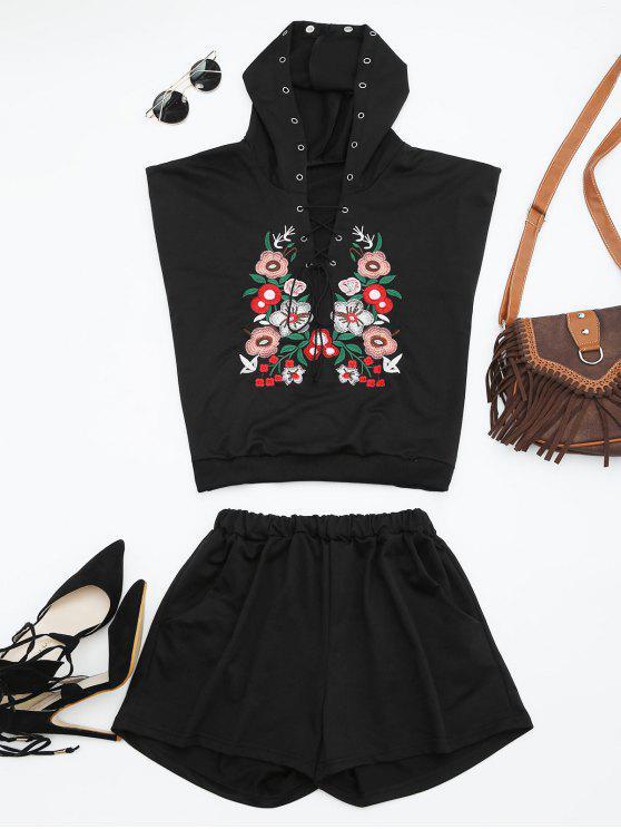 Combinaison à motifs à capuche à motifs à motifs floraux - Noir L