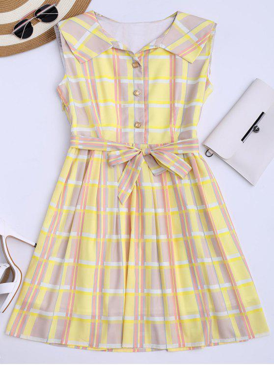 فستان شيرت منقوش توهج مع حزام - الأصفر L