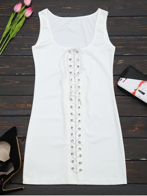 U Neck Lace Up Bodycon Dress - Blanc S