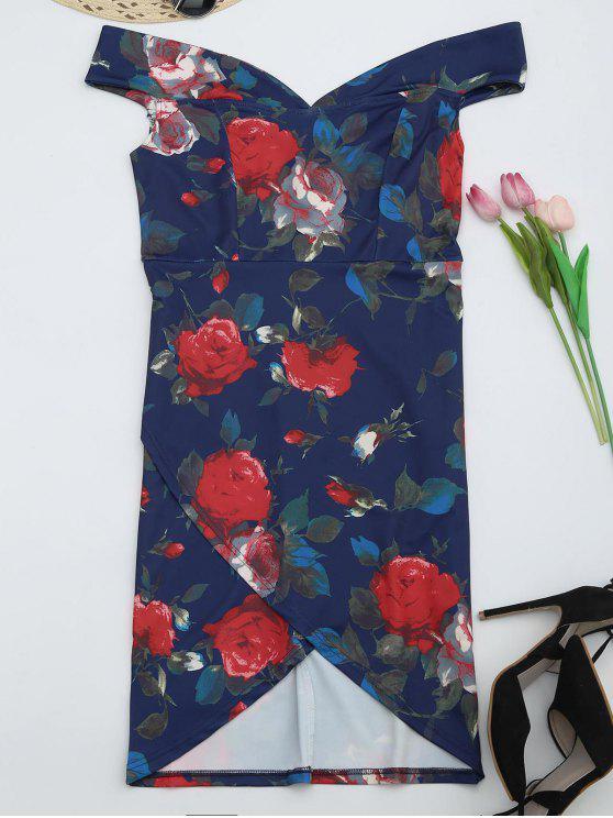 Robe ajustée imprimée florale à épaules dénudées - Bleu Cadette S