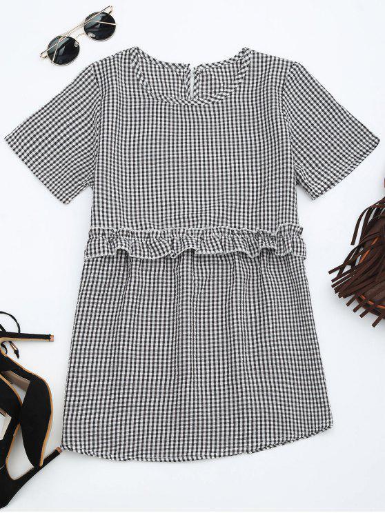 women Round Collar Ruffle Hem Checked Blouse - CHECKED L