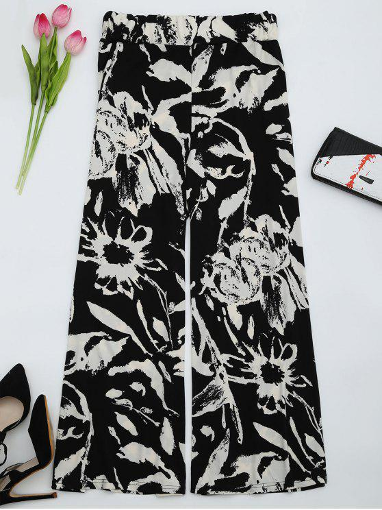 Pantalones de pierna anchos impresos de cintura alta - Negro S