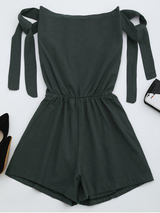 new Off The Shoulder Self Tie Sleeve Romper - DEEP GRAY L