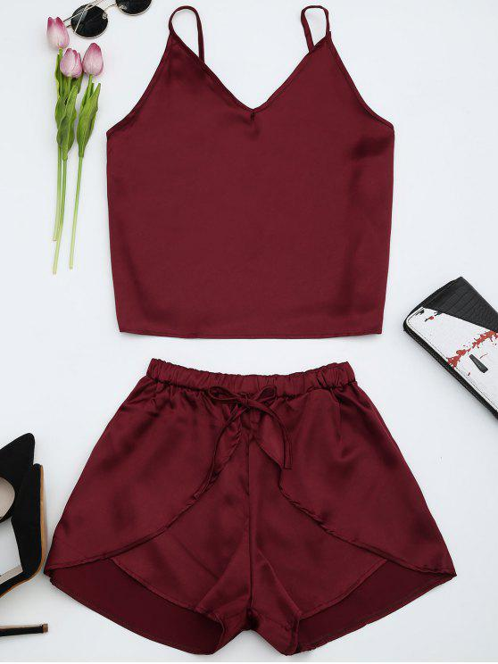 trendy Cami Satin Two Piece Suits - WINE RED XL