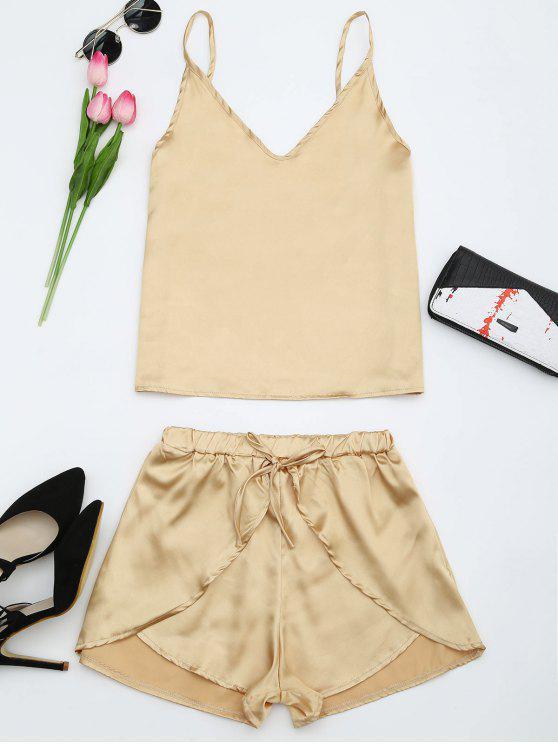 Conjunto Feminino Top e shorts em Cetim - Dourado XL