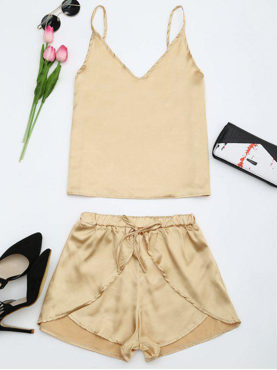 chic Cami Satin Two Piece Suits - GOLDEN L
